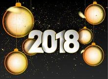 Decorazione 2018 del fondo del buon anno Illustrazione di concetto della data 2018 anni Immagine Stock Libera da Diritti
