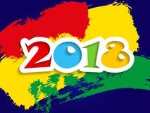 Decorazione 2018 del fondo del buon anno Modello per la progettazione della cartolina d'auguri 2018 con i colori luminosi Immagine Stock