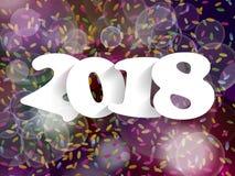 Decorazione 2018 del fondo del buon anno Progettazione della cartolina d'auguri illustrazione vettoriale