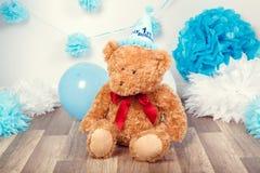 Decorazione del fondo per la prima celebrazione di compleanno di anno Fotografia Stock