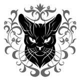 Decorazione del fronte del gatto nero Immagini Stock Libere da Diritti