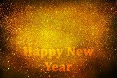 Decorazione del nuovo anno, primo piano sugli ambiti di provenienza dorati Immagini Stock