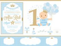 Decorazione del partito di principe dell'oro e del blu Elementi felici svegli del modello del biglietto di auguri per il complean Fotografie Stock Libere da Diritti