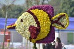Decorazione del pesce del fiore Fotografia Stock
