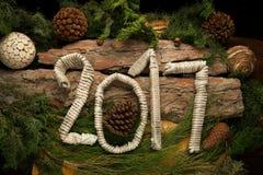 Decorazione del ` s del nuovo anno con i numeri 2017 Fotografia Stock