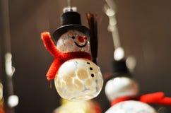 Decorazione dell'albero di Natale del pupazzo di neve Fotografia Stock Libera da Diritti