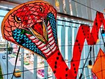 Decorazione dell'aquilone del serpente con luce fotografia stock libera da diritti