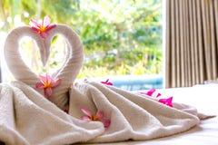 Decorazione dell'asciugamano nella camera di albergo, uccelli dell'asciugamano, cigni, interio della stanza immagini stock libere da diritti
