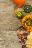 Decorazione dell'azienda agricola di autunno Zucche del raccolto Struttura dell'angolo del fondo di autunno con le zucche e le fo Immagini Stock
