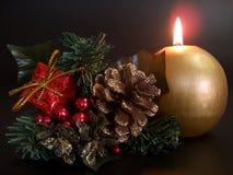 Decorazione dell'Natale-Albero e della candela Fotografia Stock