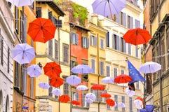 Decorazione dell'ombrello nel trastevere con la bandiera di Europa Fotografia Stock