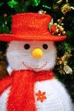Decorazione della bambola del Babbo Natale del pupazzo di neve con il piccolo corno, Buon Natale Immagini Stock