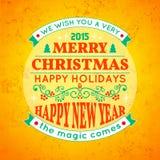 Decorazione della cartolina di Natale Tipografia, vettore Fotografia Stock