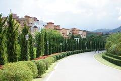 Decorazione della costruzione di stile dell'Italia della piazza della valle di Toscana Immagini Stock Libere da Diritti