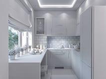 decorazione della cucina della rappresentazione 3d Interior design in uno stile moderno Immagini Stock Libere da Diritti