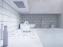decorazione della cucina della rappresentazione 3d Interior design in uno stile moderno Fotografia Stock