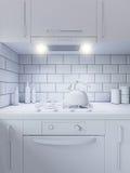 decorazione della cucina della rappresentazione 3d Interior design in uno stile moderno Fotografie Stock