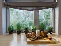 decorazione della cucina della rappresentazione 3d Interior design in uno studio moderno a Immagini Stock Libere da Diritti
