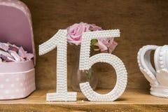 decorazione della festa di compleanno di 15 anni fotografie stock