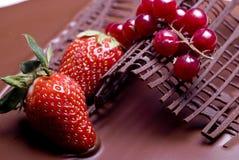 Decorazione della frutta della torta di cioccolato Fotografie Stock