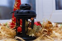 Decorazione della lampada-lanterna di Natale Fotografia Stock Libera da Diritti