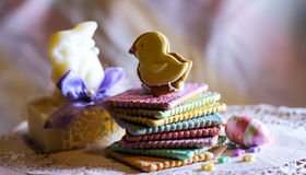 decorazione della molla del biscotto dell'arcobaleno Fotografia Stock Libera da Diritti