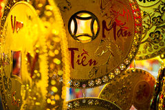 Decorazione della moneta di oro di Vietnamewse Fotografie Stock