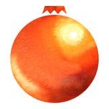 Decorazione della palla di natale dell'acquerello Fotografia Stock Libera da Diritti