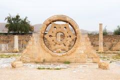 Decorazione della pietra del palazzo del ` s di Hisham nella città della Cisgiordania di Jerich fotografie stock libere da diritti