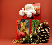 Decorazione della Santa Jack In The Box di natale dell'annata Fotografia Stock