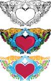 Decorazione della scheda del biglietto di S. Valentino. Cuore con i piccioni. Immagini Stock
