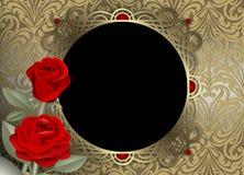 Decorazione della struttura dell'oro con le rose rosse su un fondo d'annata dorato fotografie stock