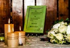 Decorazione della tabella di cerimonia nuziale Immagini Stock