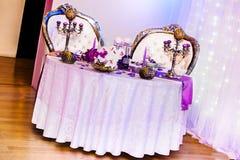 Decorazione della tabella di cerimonia nuziale Fotografie Stock
