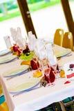Decorazione della tabella di cerimonia nuziale Fotografia Stock