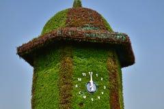 Decorazione della torre di orologio con i fiori Immagini Stock Libere da Diritti