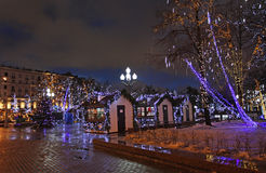 Decorazione della via del nuovo anno di Mosca Fotografie Stock Libere da Diritti