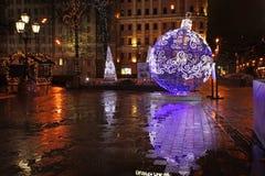 Decorazione della via del nuovo anno a Mosca Fotografia Stock