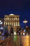 Decorazione della via del nuovo anno a Mosca di notte Immagine Stock