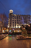 Decorazione della via del nuovo anno a Mosca di notte Fotografia Stock Libera da Diritti