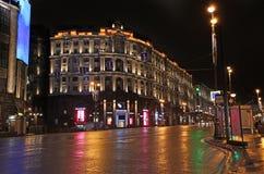 Decorazione della via di Natale del nuovo anno, Mosca di notte Fotografia Stock Libera da Diritti