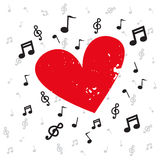 Decorazione delle note musicali con il lerciume e la musica di fondo rossi del cuore Fotografie Stock