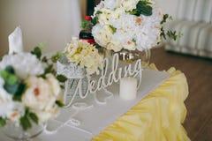 Decorazione delle tavole alle nozze Fotografia Stock Libera da Diritti