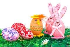 Decorazione delle uova di Pasqua e dei coniglietti Fotografie Stock