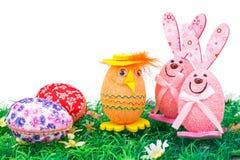 Decorazione delle uova di Pasqua e dei coniglietti Fotografia Stock Libera da Diritti