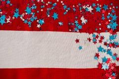 Decorazione di forma della stella sistemata sulla bandiera americana Fotografia Stock Libera da Diritti