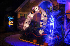 Decorazione di Halloween in una casa Fotografia Stock Libera da Diritti