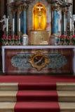 decorazione di interni dell'altare della chiesa nel porcile di barocco e di rinascita Fotografie Stock Libere da Diritti
