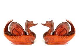 Decorazione di legno dell'anatra delle coppie Immagini Stock Libere da Diritti