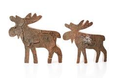 Decorazione di legno di natale - renna o alci isolati fatti a mano Fotografia Stock